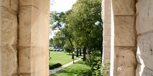 Students can study on the steps of Cooper Hall and enjoy looking out over the college campus