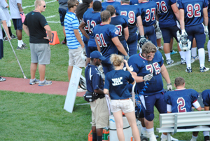 Helping football players as they take a break