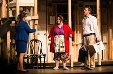 "Sterling College students Courtney Swanson, Katie O'Brien and Will Dutton rehearse for ""Noises Off,"" the farcical comedy that includes slapstick comedy, missed cues, friction between actors, vanishing props, a lot of door slamming and flying sardines."