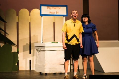 "Charlie Brown, played by Will Dutton of Sterling, Kansas, and Lucy Van Pelt, played by Elle Crook of Piedmont, Kansas, rehearse for ""You're a Good Man, Charlie Brown,"" opening Thursday, Feb. 1, 2018, at Sterling College. The musical will run Feb. 1-3 at"