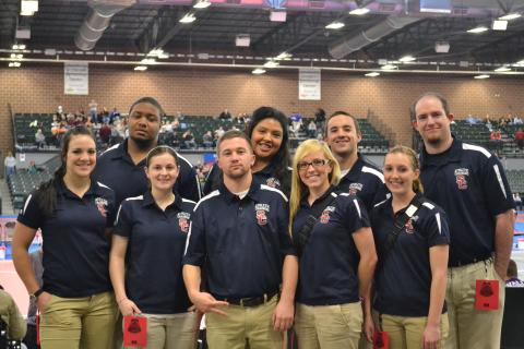 Nine SC AT students were invited to help cover the mats at NAIA Nationals.